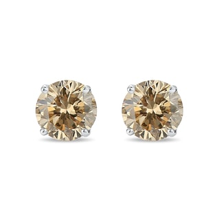 0.1KT CHAMPAGNE DIAMOND EARRINGS IN 14KT SOLID GOLD - STUD EARRINGS - EARRINGS