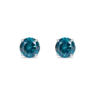 BLUE DIAMOND EARRINGS IN 14KT WHITE GOLD - STUD EARRINGS - EARRINGS