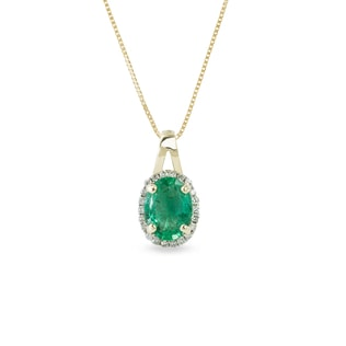 EMERALD AND DIAMOND PENDANT IN 14KT GOLD - YELLOW GOLD PENDANTS - PENDANTS