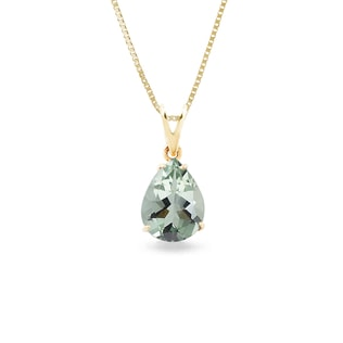 Green amethyst pendant in 14kt gold