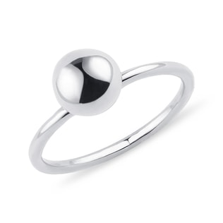 Minimalist ball ring in white gold