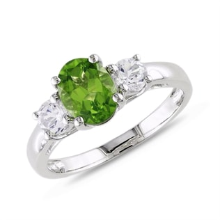 GOLD RING WITH PERIDOT AND DIAMONDS - ENGAGEMENT GEMSTONE RINGS - ENGAGEMENT RINGS