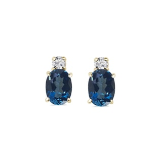 GOLD EARRINGS WITH DIAMONDS AND TOPAZ - TOPAZ EARRINGS - EARRINGS
