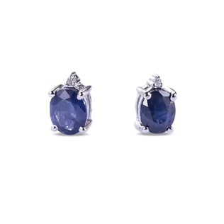 SAPPHIRE AND DIAMOND EARRINGS IN STERLING SILVER - SAPPHIRE EARRINGS - EARRINGS