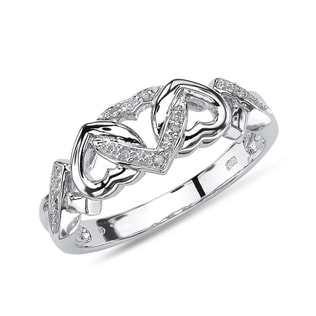 DIAMOND HEART RING IN 14KT WHITE GOLD - DIAMOND RINGS - RINGS