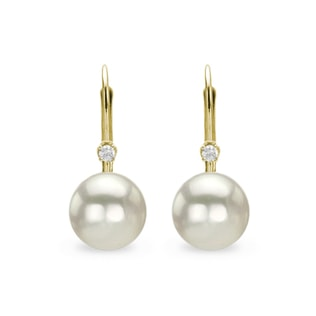 PEARL AND DIAMOND EARRINGS IN 14KT YELLOW GOLD - PEARL EARRINGS - PEARL JEWELLERY