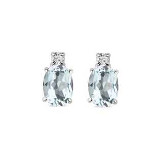 AQUAMARINE AND DIAMOND EARRINGS IN 14KT WHITE GOLD - AQUAMARINE EARRINGS - EARRINGS