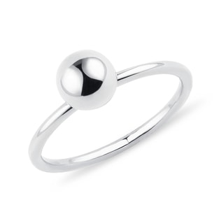Minimalist golden orb ring in white gold