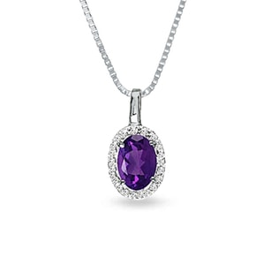 AMETHYST AND DIAMOND PENDANT IN WHITE GOLD - AMETHYST PENDANTS - PENDANTS