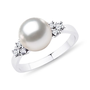 PEARL AND DIAMOND RING IN STERLING SILVER - PEARL RINGS - PEARL JEWELRY