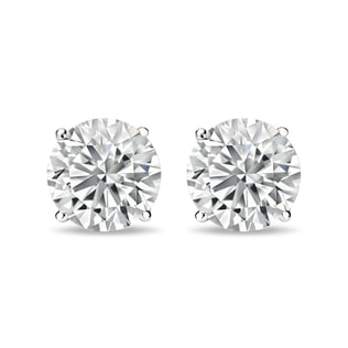 LUXURY DIAMOND EARRINGS IN 14KT WHITE GOLD - STUD EARRINGS - EARRINGS
