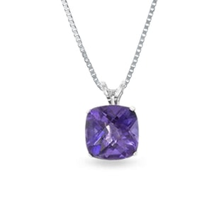 AMETHYST NECKLACE IN STERLING SILVER - STERLING SILVER PENDANTS - PENDANTS