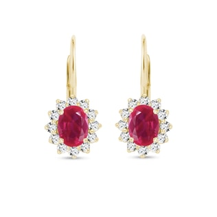 Earrings with diamonds and rubies