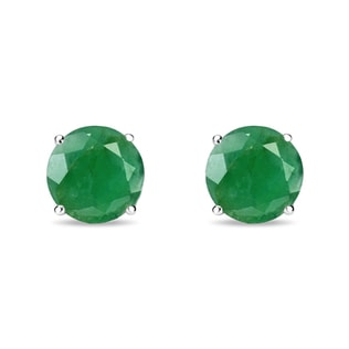 EMERALD EARRINGS IN STERLING SILVER - STERLING SILVER EARRINGS - EARRINGS