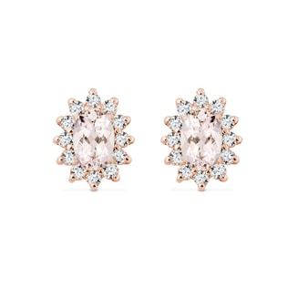 GOLD EARRINGS WITH DIAMONDS AND MORGANITE - GEMSTONES EARRINGS - EARRINGS