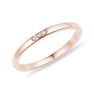 Rose gold wedding ring with diamonds