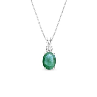 EMERALD AND DIAMOND NECKLACE IN 14KT WHITE GOLD - EMERALD PENDANTS - PENDANTS
