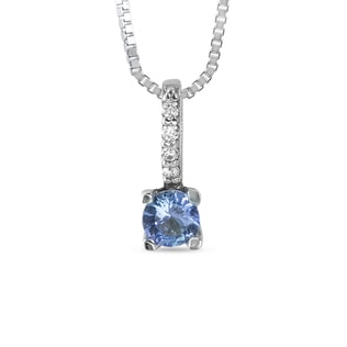 TANZANITE AND CZ PENDANT IN 14KT GOLD - GEMSTONE PENDANTS - PENDANTS