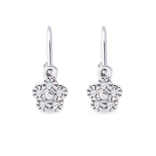 BABY CZ FLOWER EARRINGS IN 14KT YELLOW GOLD - WHITE GOLD EARRINGS - EARRINGS