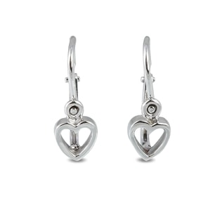 BABY 14KT GOLD HEART EARRINGS - WHITE GOLD EARRINGS - EARRINGS
