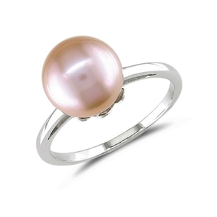 PINK PEARL RING IN WHITE GOLD - PEARL RINGS - PEARL JEWELRY