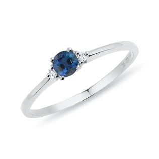 RING WITH SAPPHIRE AND DIAMONDS - SAPPHIRE RINGS - RINGS