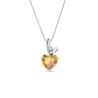 CITRINE AND DIAMOND HEART PENDANT IN 14KT GOLD - HEART PENDANTS - PENDANTS