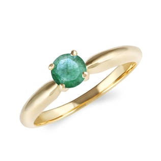 EMERALD 14KT GOLD RING - ENGAGEMENT GEMSTONE RINGS - ENGAGEMENT RINGS