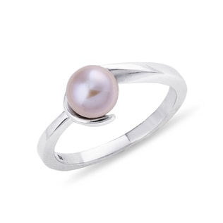 SILVER RING WITH PEARL - STERLING SILVER RINGS - RINGS