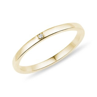 GOLD WEDDING RING WITH A DIAMOND - RINGS FOR HER - WEDDING RINGS