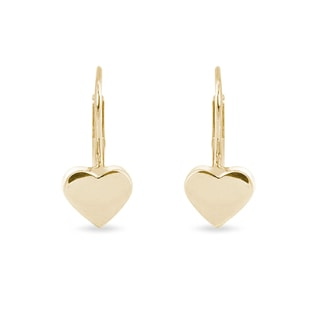 YELLOW GOLD HEART-SHAPED EARRINGS - YELLOW GOLD EARRINGS - EARRINGS