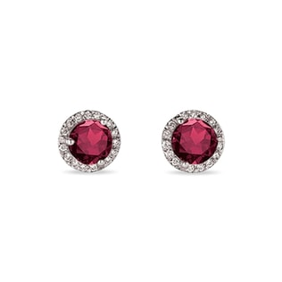 GOLD RUBY ​​EARRINGS WITH DIAMONDS - RUBY EARRINGS - EARRINGS