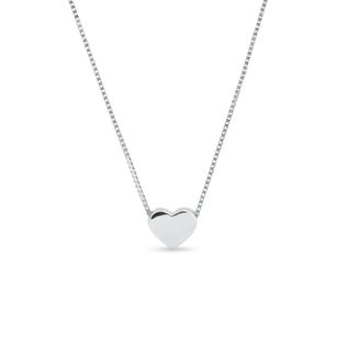 Heart necklace in 14k white gold