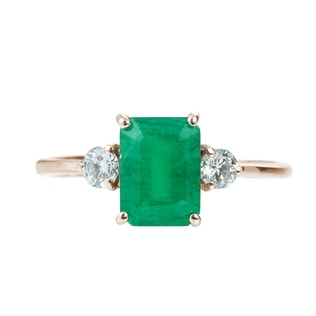 EMERALD AND DIAMOND 14KT GOLD RING - EMERALD RINGS - RINGS