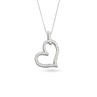 DIAMOND HEART PENDANT IN 14KT WHITE GOLD - HEART PENDANTS - PENDANTS