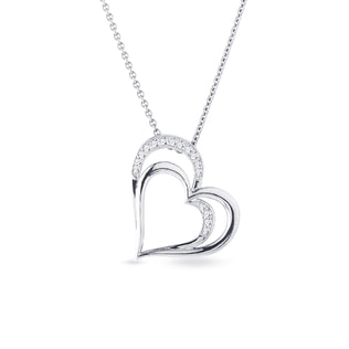 Diamond heart necklace in white gold