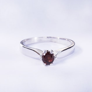 SILVER RING WITH GARNET - GARNET RINGS - RINGS