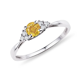 Ring made of white gold with diamonds and citrine