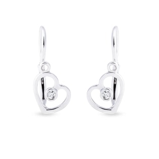 BABY HEART EARRINGS IN 14KT WHITE GOLD - WHITE GOLD EARRINGS - EARRINGS