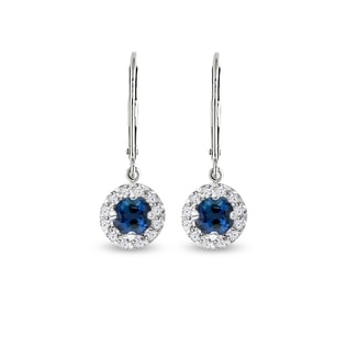 EARRINGS MADE OF WHITE GOLD WITH SAPPHIRES AND DIAMONDS - SAPPHIRE EARRINGS - EARRINGS