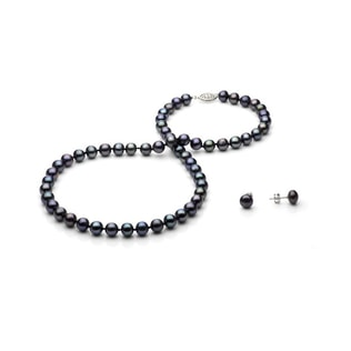 SET OF NECKLACE AND EARRINGS OF BLACK PEARLS IN STERLING SILVER - PEARL SETS - PEARL JEWELLERY
