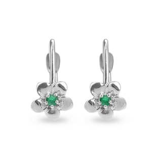BABY EMERALD FLOWER EARRINGS IN 14KT GOLD - CHILDREN'S EARRINGS - EARRINGS