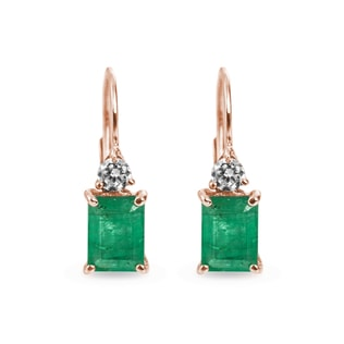 EMERALD AND DIAMOND EARRINGS IN 14KT ROSE GOLD - EMERALD EARRINGS - EARRINGS