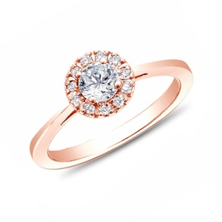 DIAMOND ENGAGEMENT RING IN 14KT GOLD - ENGAGEMENT HALO RINGS - ENGAGEMENT RINGS