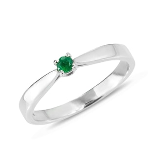 EMERALD 14KT GOLD RING - WHITE GOLD RINGS - RINGS