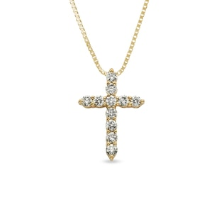 DIAMOND CROSS PENDANT IN 14KT GOLD - YELLOW GOLD PENDANTS - PENDANTS