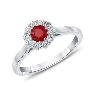 RUBY AND DIAMOND RING IN 14KT WHITE GOLD - ENGAGEMENT HALO RINGS - ENGAGEMENT RINGS