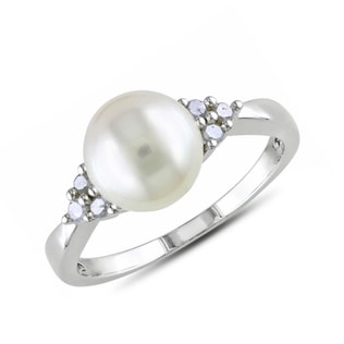 PEARL AND DIAMOND RING IN STERLING SILVER - PEARL RINGS - PEARL JEWELLERY