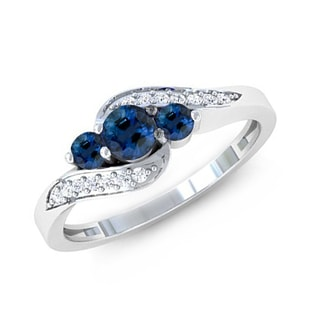 BLUE SAPPHIRE AND DIAMOND ENGAGEMENT RING IN 14KT GOLD - ENGAGEMENT GEMSTONE RINGS - ENGAGEMENT RINGS