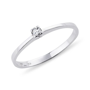 SIMPLE ENGAGEMENT RING WITH DIAMOND - WHITE GOLD RINGS - RINGS